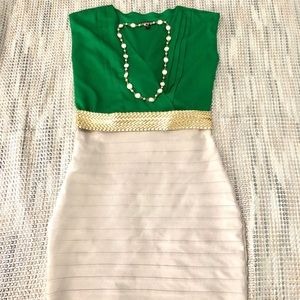 Express Green and Cream Fitted Dress